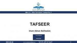 QRN 111 Tafsir Curriculum Lecture No 3 TAFSEER