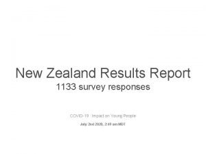 New Zealand Results Report 1133 survey responses COVID19