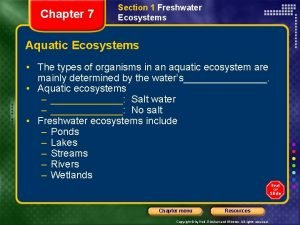 Chapter 7 Section 1 Freshwater Ecosystems Aquatic Ecosystems
