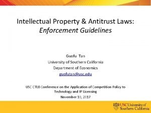Intellectual Property Antitrust Laws Enforcement Guidelines Guofu Tan