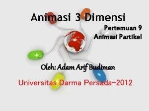 Animasi 3 Dimensi Pertemuan 9 Animasi Partikel Oleh