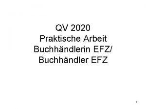 QV 2020 Praktische Arbeit Buchhndlerin EFZ Buchhndler EFZ