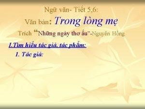 Ng vn Tit 5 6 Vn bn Trong