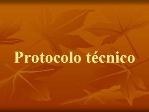 Protocolo tcnico Protocolo tcnico n Pasos metodolgicos n