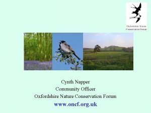 Cynth Napper Community Officer Oxfordshire Nature Conservation Forum