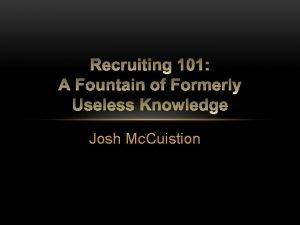 Josh Mc Cuistion PITFALLS OF RECRUITING RECRUITING MEDIA
