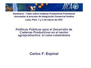 Seminario Taller sobre Cadenas Productivas Prioritarias vinculadas al