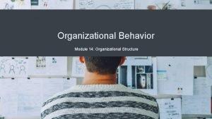 Organizational Behavior Module 14 Organizational Structure Module Learning