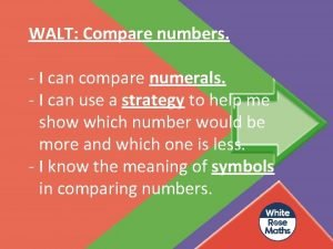 WALT Compare numbers I can compare numerals I
