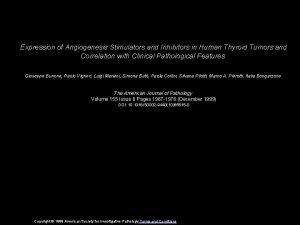 Expression of Angiogenesis Stimulators and Inhibitors in Human