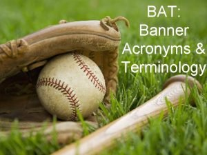 BAT Banner Acronyms Terminology Banner Acronyms Acronym WTE