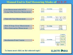 Manual End to End Measuring Modes of ECE