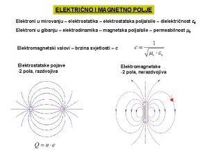 ELEKTRINO I MAGNETNO POLJE Elektroni u mirovanju elektrostatika