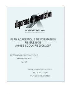 PLAN ACADEMIQUE DE FORMATION FILIERE BOIS ANNEE SCOLAIRE