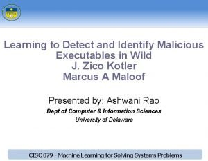 Learning to Detect and Identify Malicious Executables in