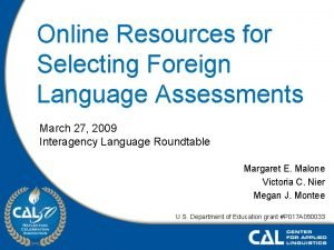 Online Resources for Selecting Foreign Language Assessments March