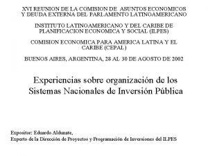 XVI REUNION DE LA COMISION DE ASUNTOS ECONOMICOS