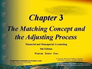 Chapter 3 The Matching Concept and the Adjusting