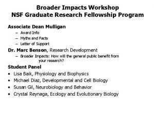 Broader Impacts Workshop NSF Graduate Research Fellowship Program