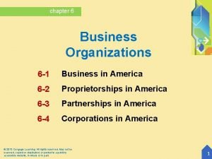 chapter 6 Business Organizations 6 1 Business in