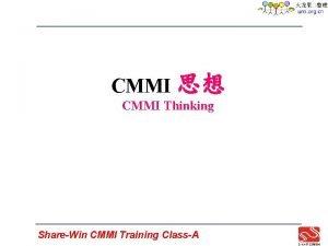 CMMI CMMI Thinking ShareWin CMMI Training ClassA Process