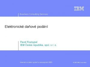 Business Consulting Services Elektronick daov podn Pavel Rozsypal