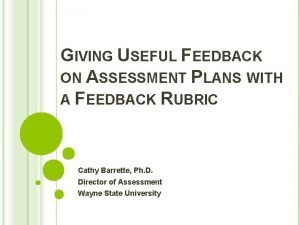 GIVING USEFUL FEEDBACK ON ASSESSMENT PLANS WITH A