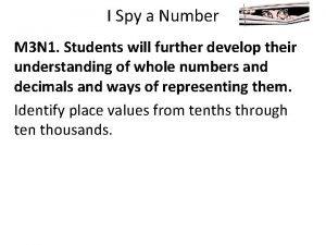 I Spy a Number M 3 N 1