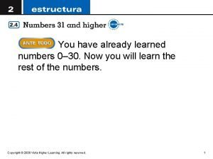 You have already learned numbers 0 30 Now