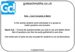 Nets Card Complete Match In this activity students
