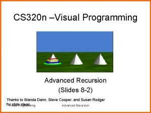 CS 320 n Visual Programming Advanced Recursion Slides
