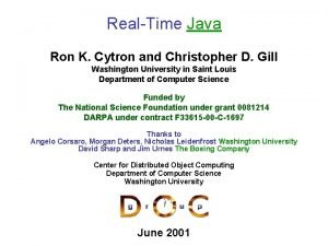 RealTime Java Ron K Cytron and Christopher D
