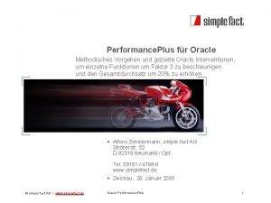 Performance Plus fr Oracle Methodisches Vorgehen und gezielte