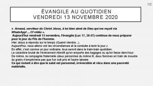 12 VANGILE AU QUOTIDIEN VENDREDI 13 NOVEMBRE 2020