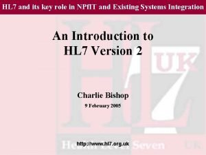 HL 7 and its key role in NPf