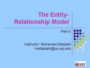 The Entity Relationship Model Part3 Instructor Mohamed Eltabakh