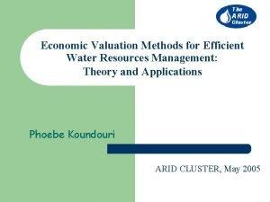 Economic Valuation Methods for Efficient Water Resources Management