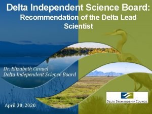 Delta Independent Science Board Recommendation of the Delta