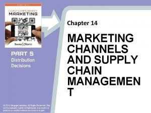 Chapter 14 MARKETING CHANNELS AND SUPPLY CHAIN MANAGEMEN