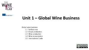 Unit 1 Global Wine Business Global wine business