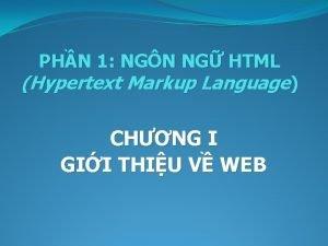 PHN 1 NGN NG HTML Hypertext Markup Language