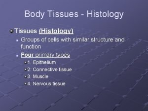 Body Tissues Histology Tissues Histology n n Groups