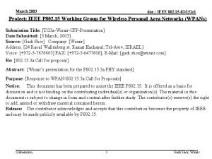 March 2003 doc IEEE 802 15 03151 r