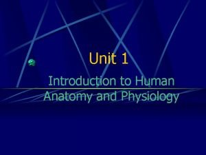 Unit 1 Introduction to Human Anatomy and Physiology