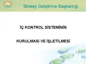 Strateji Gelitirme Bakanl KONTROL SSTEMNN KURULMASI VE LETLMES