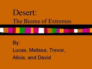 Desert The Biome of Extremes By Lucas Melissa