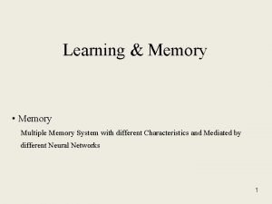 Learning Memory Memory Multiple Memory System with different