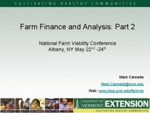 Farm Finance and Analysis Part 2 National Farm