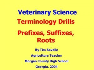 Veterinary Science Terminology Drills Prefixes Suffixes Roots By