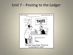 Unit 7 Posting to the Ledger Posting to
